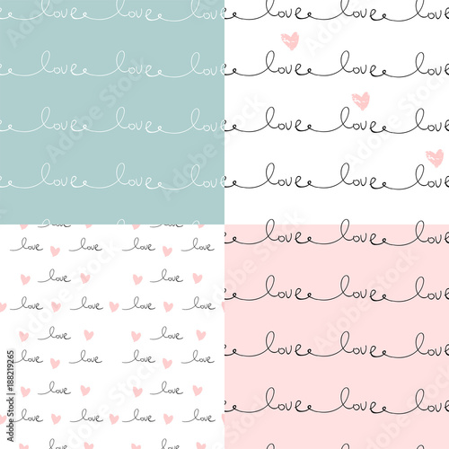 Türaufkleber Künstlich Romantic Seamless Pattern with hand written words Love and ink hearts on pink. Happy Valentine s Day concept vector illustration trendy design. Backdrop for wrapping paper, invitations, greeting cards