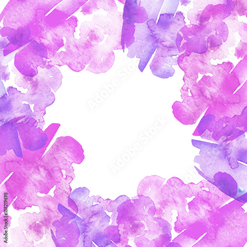 Watercolor Frame Postcard Card Background Abstraction Purple Pink Paint Colors Splash Used For A Variety Of Design And Decoration