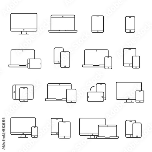 Fotografie, Obraz  Device line icon set