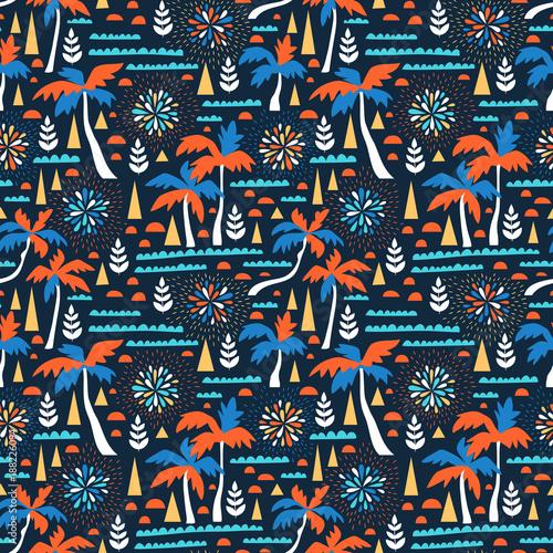 Materiał do szycia Bezszwowe plaży wektor wzór z fajerwerkami, palmy i fale. Hawajski tło wektor. Projekt sieci szkieletowej lato.