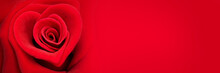 Red Rose In The Shape Of A Heart, Valentines Day Panoramic Web Banner, Love Symbol
