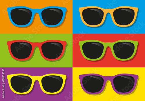 lunettes de soleil - vacances - été - symbole - coloré - mode - accessoire - pla Canvas Print