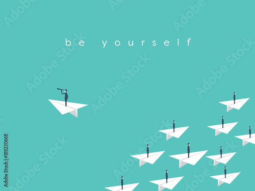 Fotografía  Stand out from the crowd, be yourself business concept