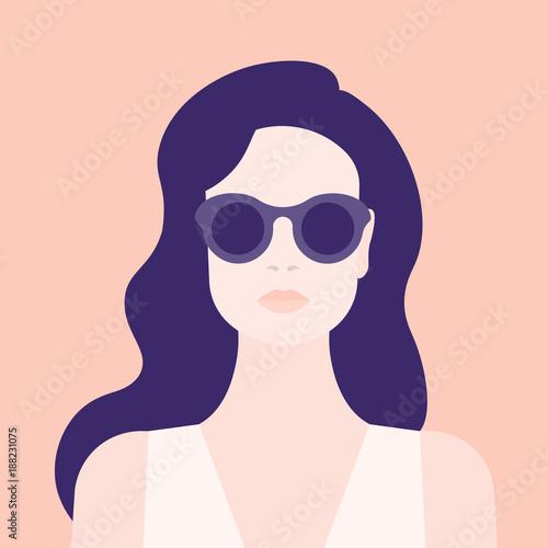 Portrait of a woman. The head of a girl. Avatar. Minimalist. Flat. Vector illustration
