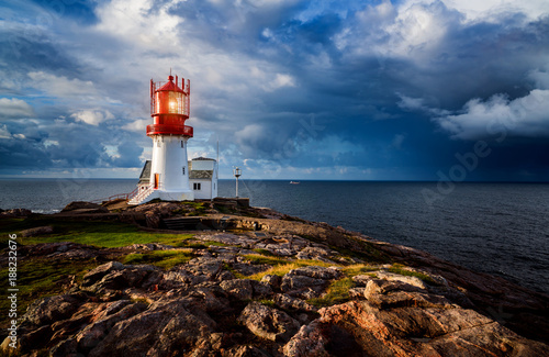 Photo Stands Lighthouse Lindesnes Fyr Lighthouse, Norway
