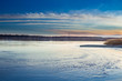 Winter paysage landscape of sunset evening iced frozen lake