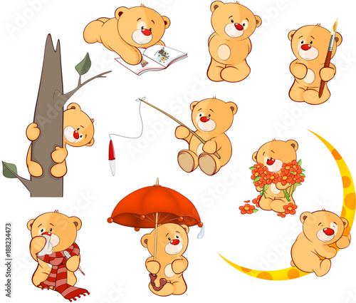In de dag Babykamer Set of Cartoon Illustration Stuffed Bears for you Design