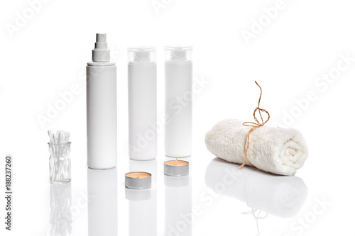 Keuken foto achterwand Spa Set of cosmetic products in white containers on light background.