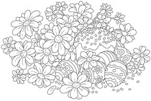Festively Decorated Easter Cake And Painted Eggs With Flowers, A Black And White Vector Illustration For A Coloring Book