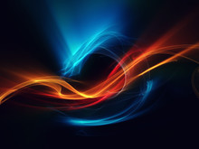 Blue Red Orange Abstract Dragon On Black Background Beautiful Picture