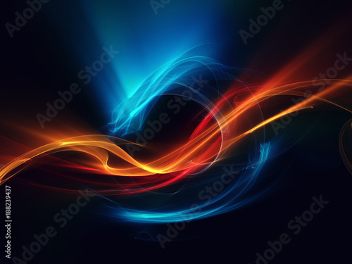 In de dag Fractal waves blue red orange abstract dragon on black background beautiful picture
