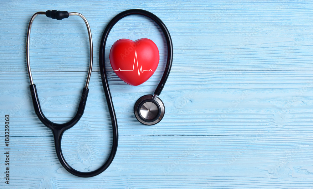 Fototapety, obrazy: Red heart with stethoscope.