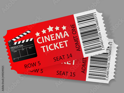 Photo Admit one tickets. Vector illustration.