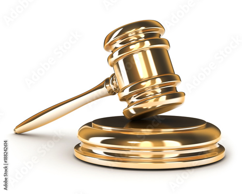 Only gold gavel on white background