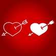 Heart Pierced with Arrow line and glyph icon, valentines day and romantic, love sign vector graphics, a linear pattern on a red background, eps 10.