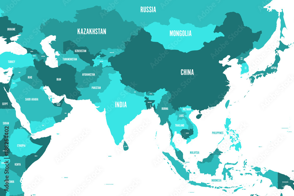 Fototapeta Political map of western, southern and eastern Asia in shades of turquoise blue. Modern style simple flat vector illustration.