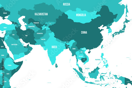 Political map of western, southern and eastern Asia in shades of turquoise blue. Modern style simple flat vector illustration.