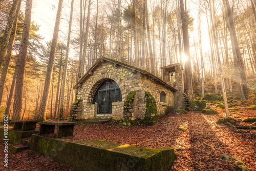 Small chapel in forest at Vizzavona in Corsica Fototapete