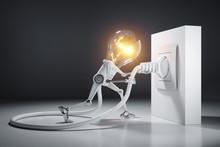 Cartoon Light Bulb Robot Attac...