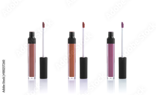 Valokuva set color lipgloss isolated on white background