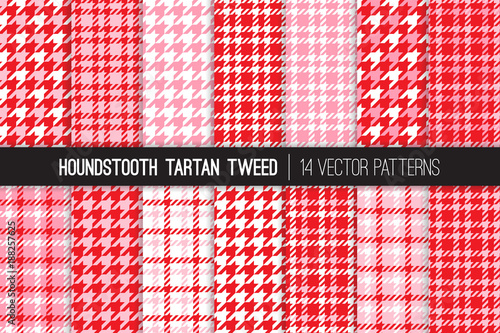 Photo  Valentine's Day Red and Pink Houndstooth Tartan Tweed Vector Patterns