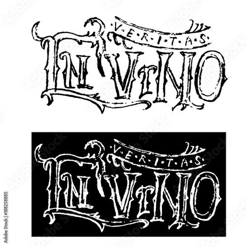 Fotografie, Obraz  In vino veritas Letterring cyrillic phrase