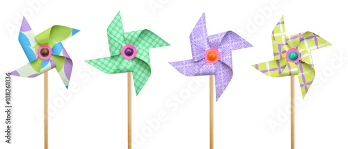 Pinwheels on white background Fototapet