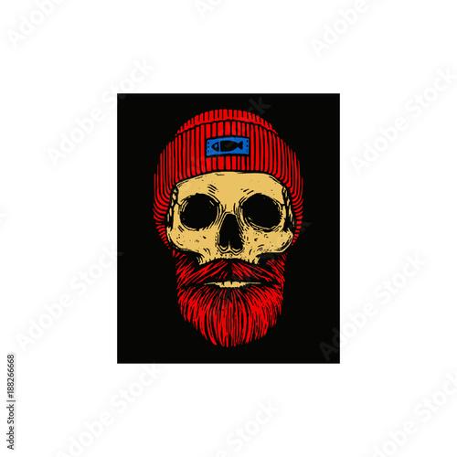 Fisherman skull with beard and skull cap  Color vector illustration ... 7aa81c54072