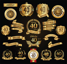 Anniversary Retro Vintage Badges And Labels Vector Illustration