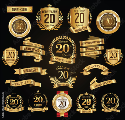 Fotografía  Anniversary retro vintage badges and labels vector illustration