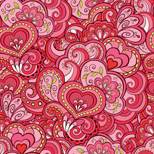 Abstract Romantic Seamless Pattern In Pink Color.