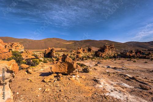 Poster Donkergrijs Landscape of Lost Italy in Eduardo Avaroa National Park, Bolivia