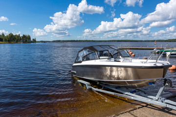 Boat launch on lake water