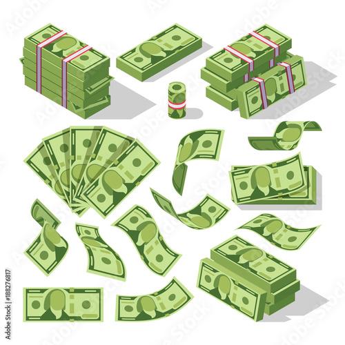 Cuadros en Lienzo Cartoon money bills. Green dollar banknotes cash vector icons