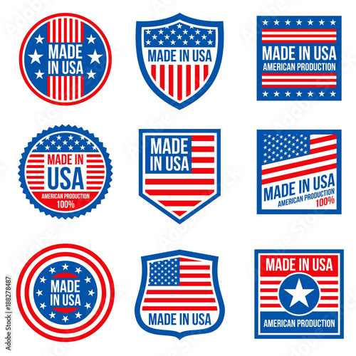 Vintage made in the usa vector badges. American patriotic icons Poster