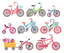 Kids Bicycles Vector Set. Childrens Bikes Collection