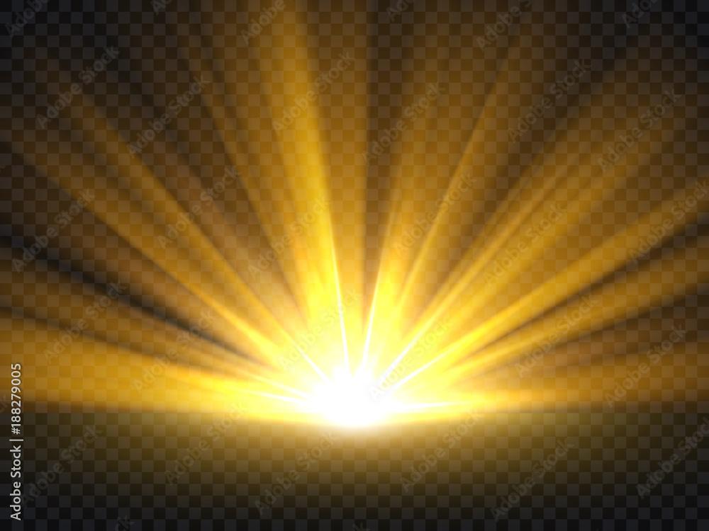 Fototapety, obrazy: Abstract golden bright light. Gold shine burst vector illustration isolated