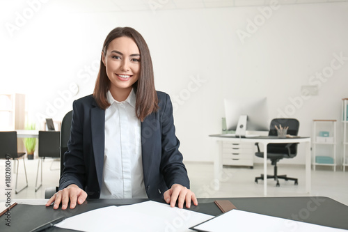 Attractive young lawyer in office
