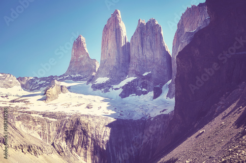 Foto op Aluminium Aubergine Vintage toned picture of the Torres del Paine mountain range, Patagonia, Chile.