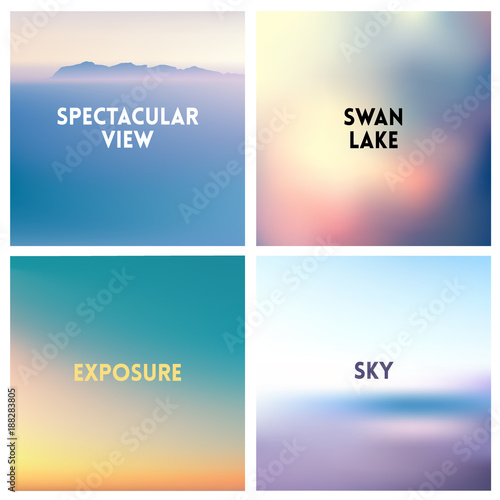 Photo  Abstract vector multicolored blurred background set