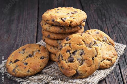 Tuinposter Koekjes Pile of chocolate chip cookies