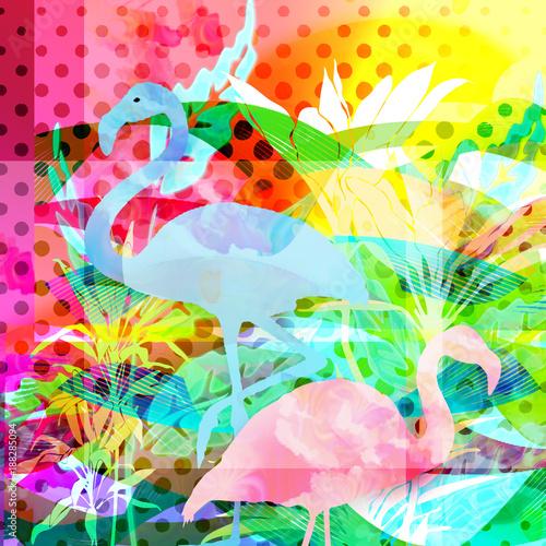 egzotyczne tło z flamingami