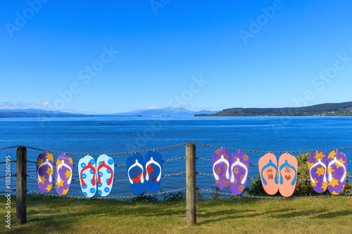 Papiers peints Nouvelle Zélande Summer lake Taupo view
