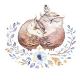 I love you. Lovely watercolor illustration with sweet owls, hearts and flowers in awesome colors. Stunning romantic valentines day owl card made in watercolor technique.  - 188286232