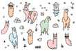 Vector set of cute isolated outline cartoon lama
