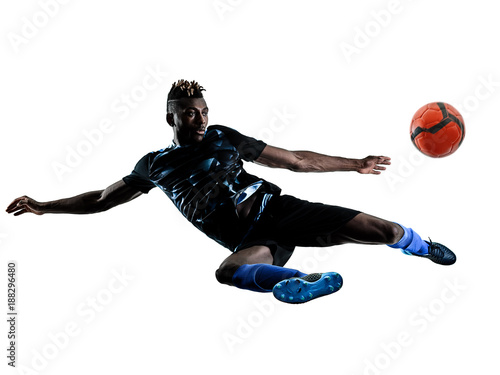 one african soccer player man playing in studio isolated on white background Canvas-taulu