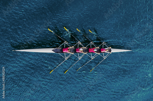 Fotografie, Obraz  Women's rowing team on blue water