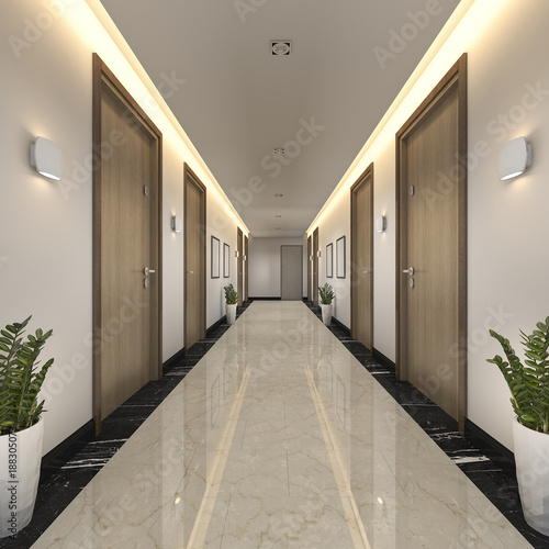 Photo 3d rendering modern luxury wood and tile hotel corridor
