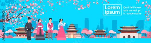 Fotografía  Korea People In Traditional Costumes Over Palace Landscape Sakura Trees South Ko