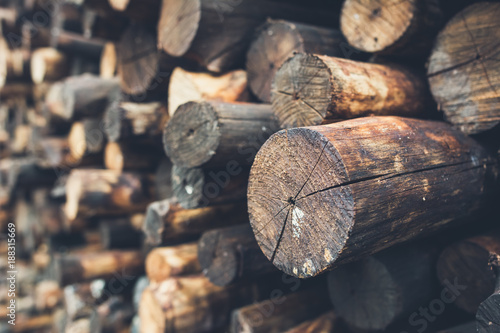 Pile firewood prepared for fireplace